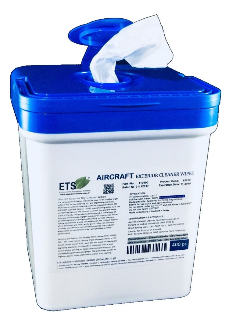 Aircraft Exterior Dry Cleaner Wipes 400pc Aircraft Cleaners