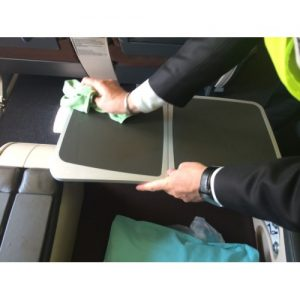 aircraft interior table cleaning