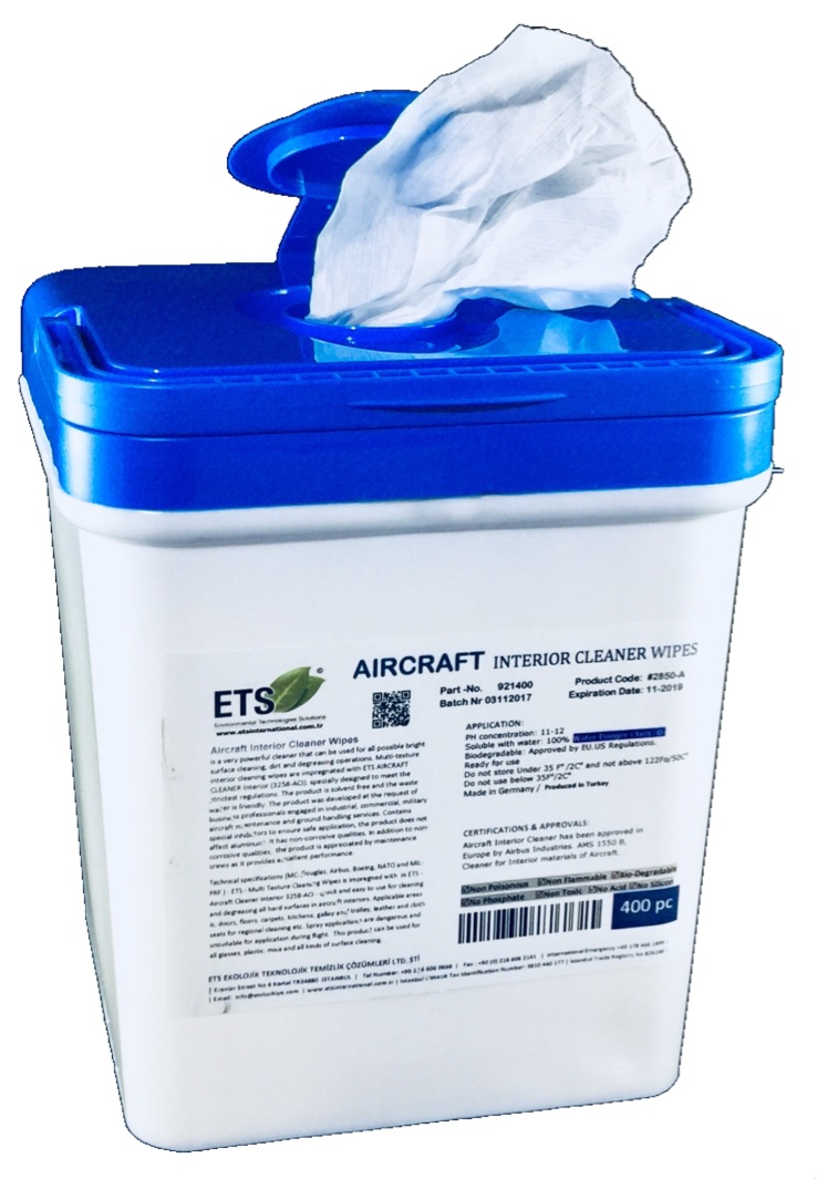 Aircraft Interior Dry Cleaner Wipes 400pc Aircraft Cleaners